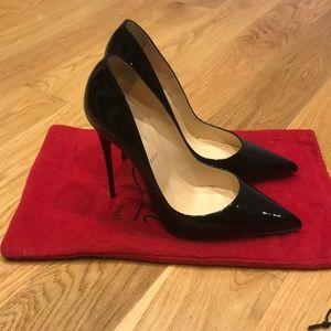 Christian Louboutin So Kate patent black heels